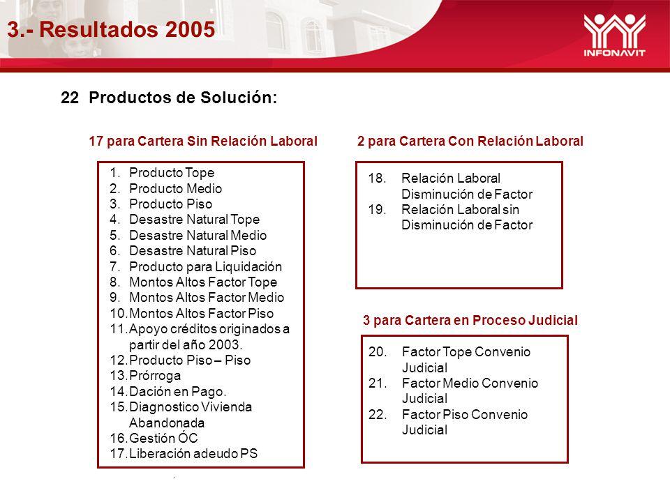 3.- Resultados 2005 22 Productos de Solución: