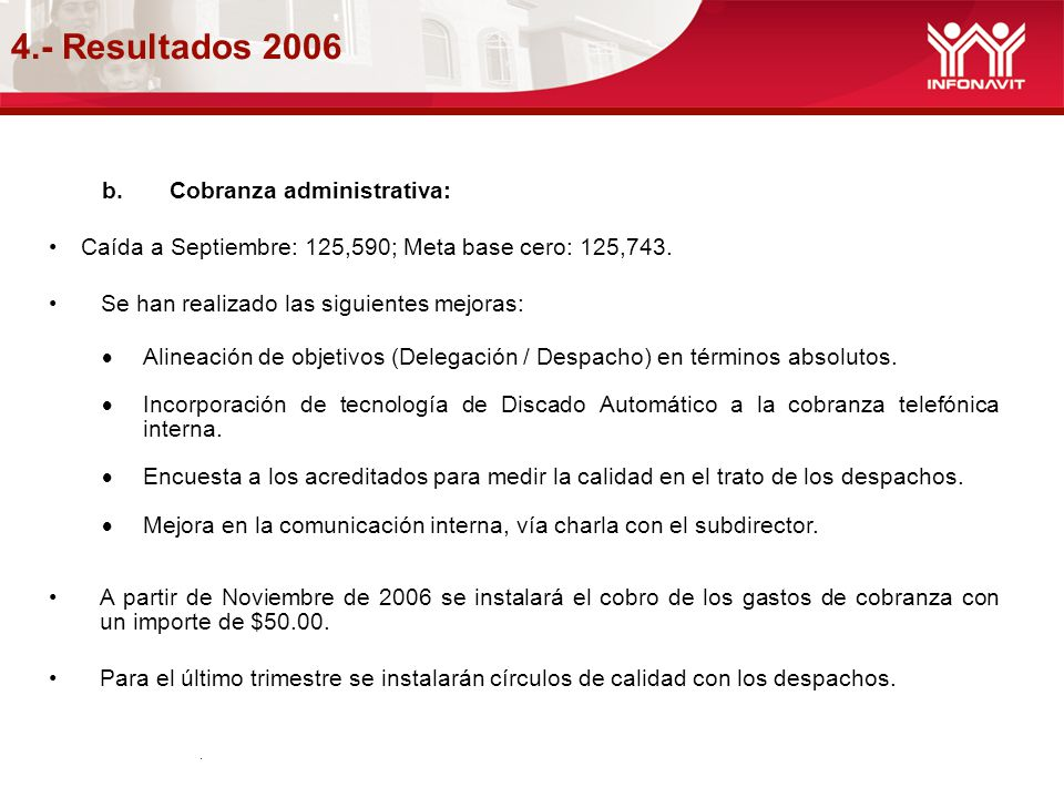 4.- Resultados 2006 Cobranza administrativa:
