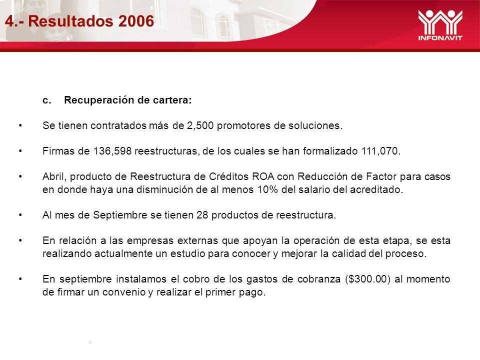 4.- Resultados 2006 Recuperación de cartera: