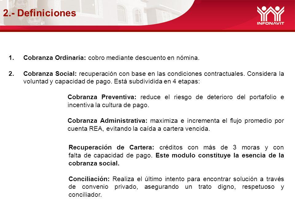 2.- Definiciones Cobranza Ordinaria: cobro mediante descuento en nómina.