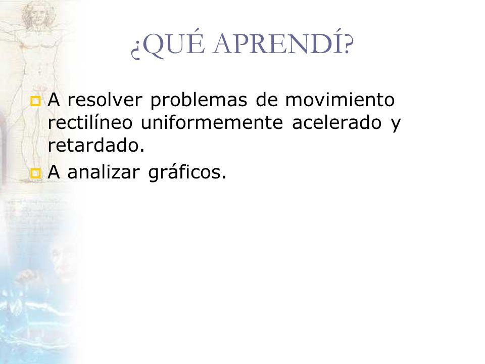 ¿QUÉ APRENDÍ. A resolver problemas de movimiento rectilíneo uniformemente acelerado y retardado.