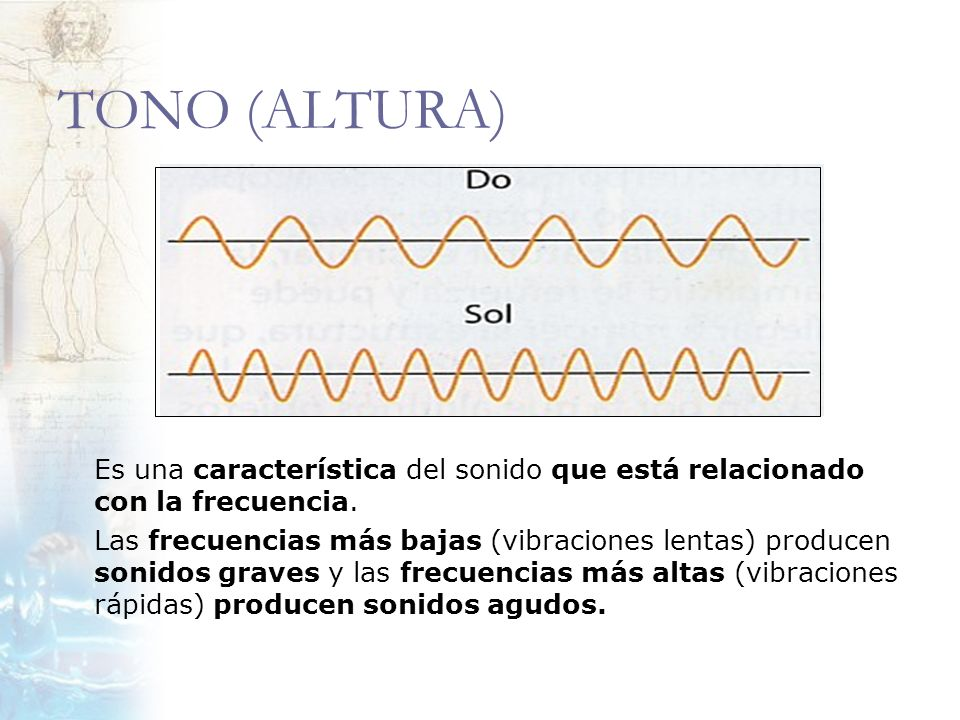 TONO (ALTURA) Es una característica del sonido que está relacionado con la frecuencia.