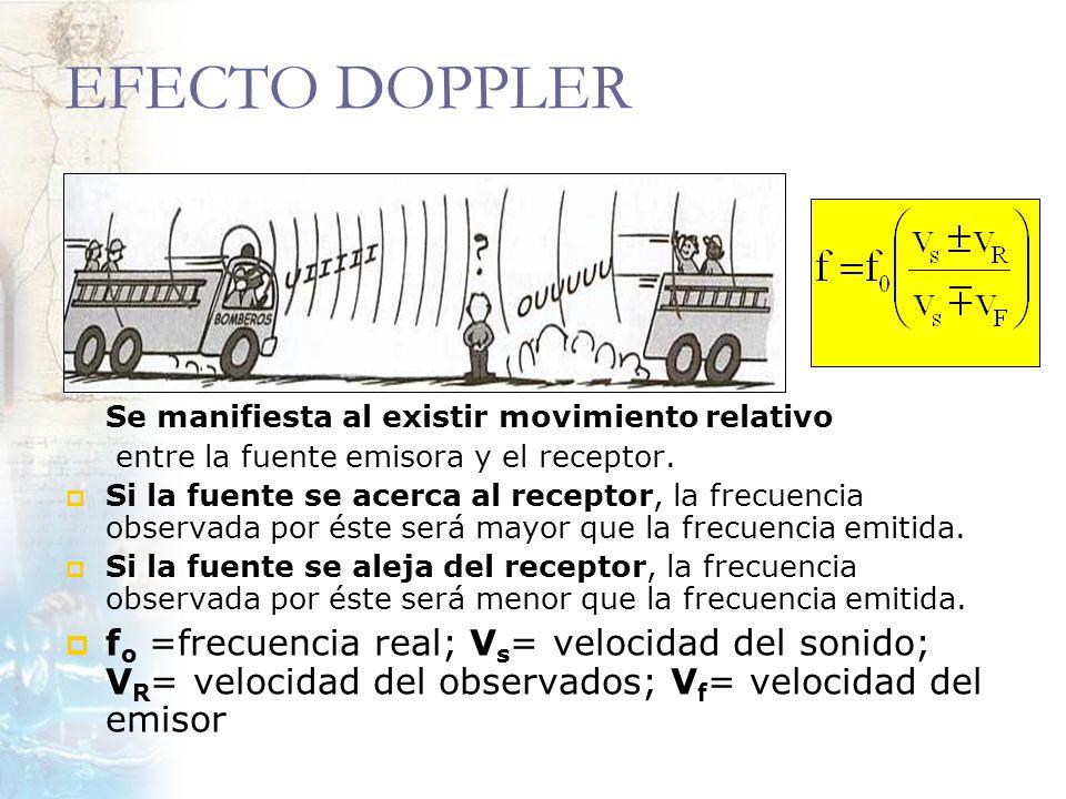 EFECTO DOPPLER Se manifiesta al existir movimiento relativo