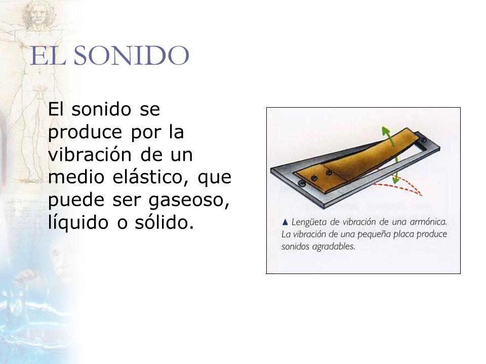 EL SONIDO El sonido se produce por la vibración de un medio elástico, que puede ser gaseoso, líquido o sólido.