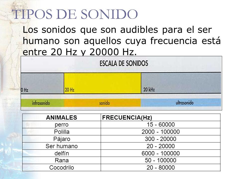 TIPOS DE SONIDO Los sonidos que son audibles para el ser humano son aquellos cuya frecuencia está entre 20 Hz y 20000 Hz.