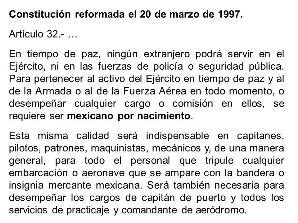 Constitución reformada el 20 de marzo de 1997.