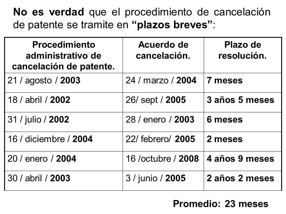 No es verdad que el procedimiento de cancelación de patente se tramite en plazos breves :