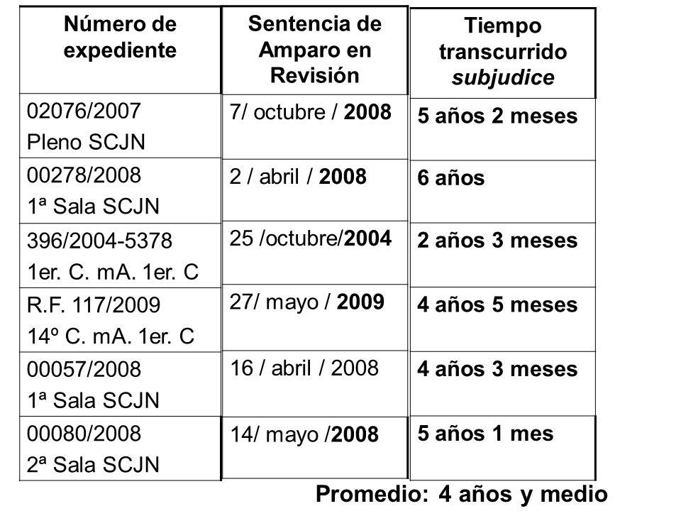 Sentencia de Amparo en Revisión Tiempo transcurrido subjudice