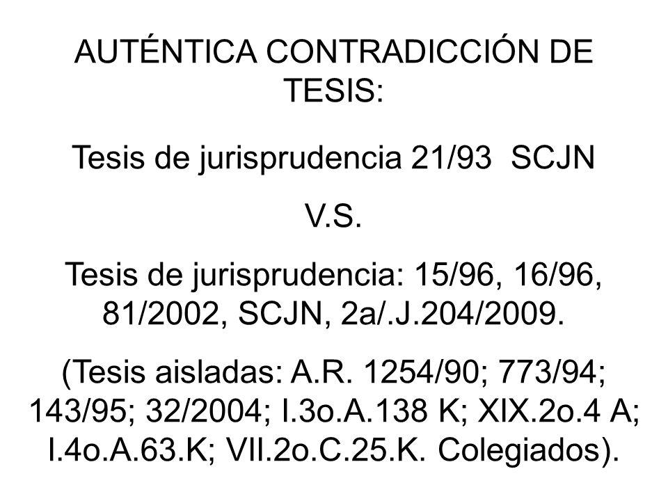 AUTÉNTICA CONTRADICCIÓN DE TESIS: Tesis de jurisprudencia 21/93 SCJN