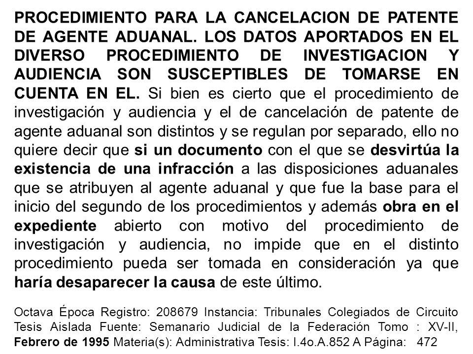 PROCEDIMIENTO PARA LA CANCELACION DE PATENTE DE AGENTE ADUANAL