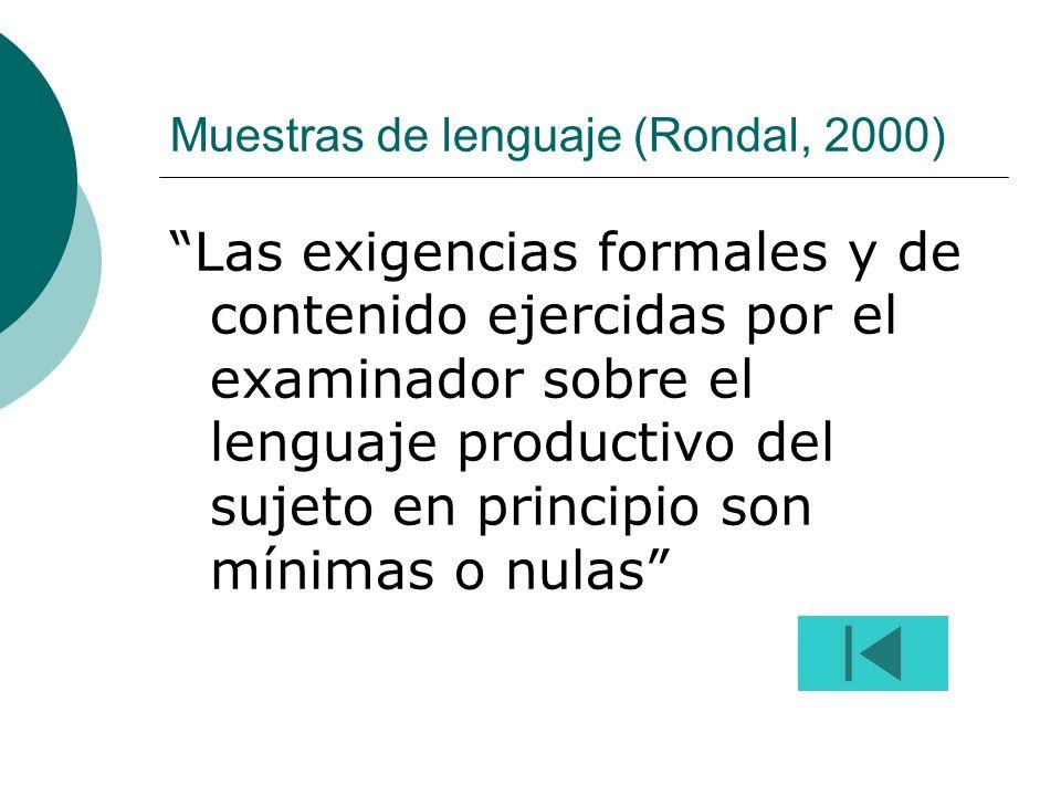 Muestras de lenguaje (Rondal, 2000)