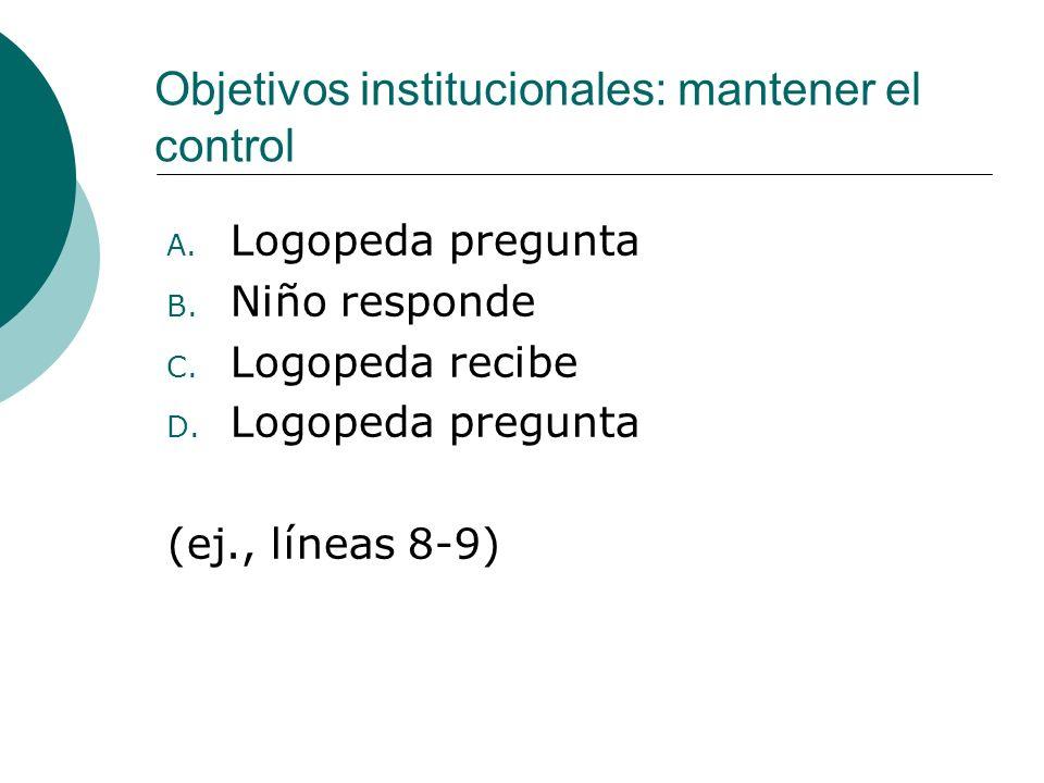 Objetivos institucionales: mantener el control