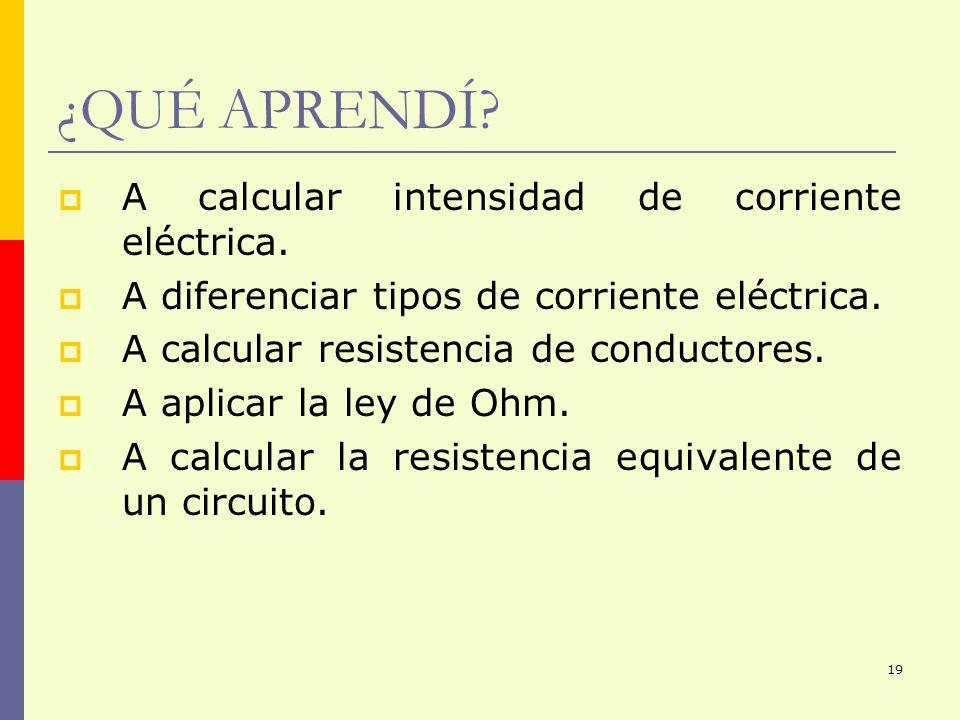 ¿QUÉ APRENDÍ A calcular intensidad de corriente eléctrica.