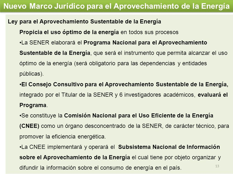 Nuevo Marco Jurídico para el Aprovechamiento de la Energía