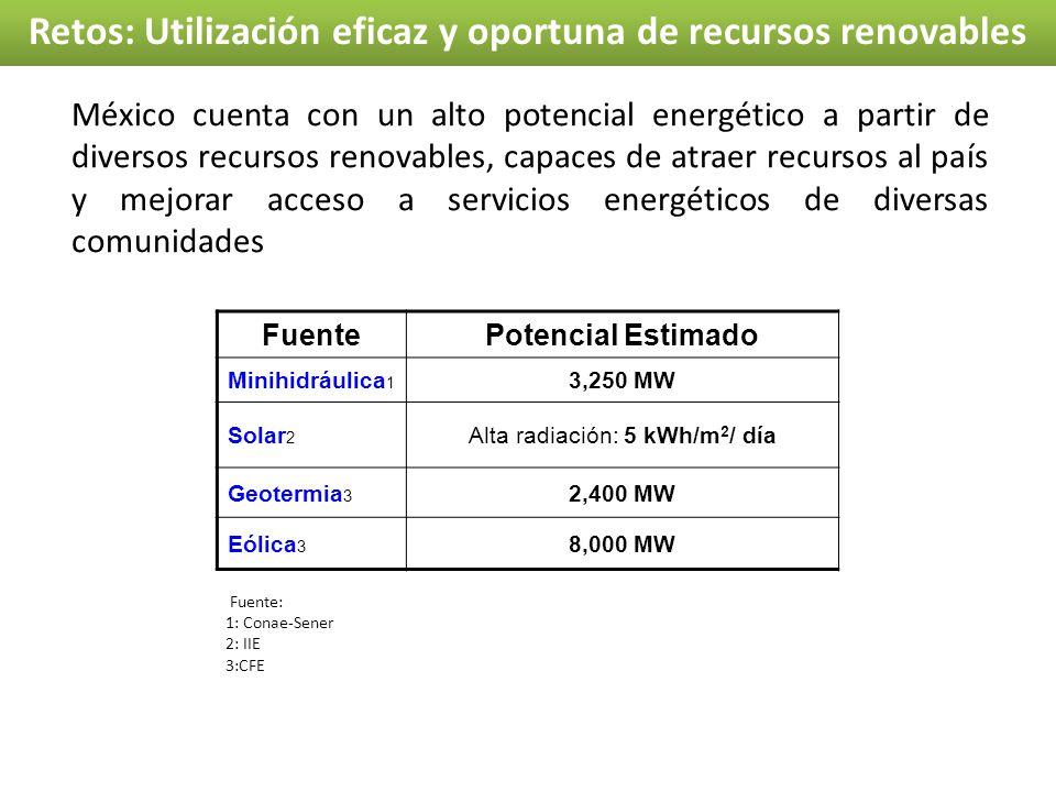 Retos: Utilización eficaz y oportuna de recursos renovables