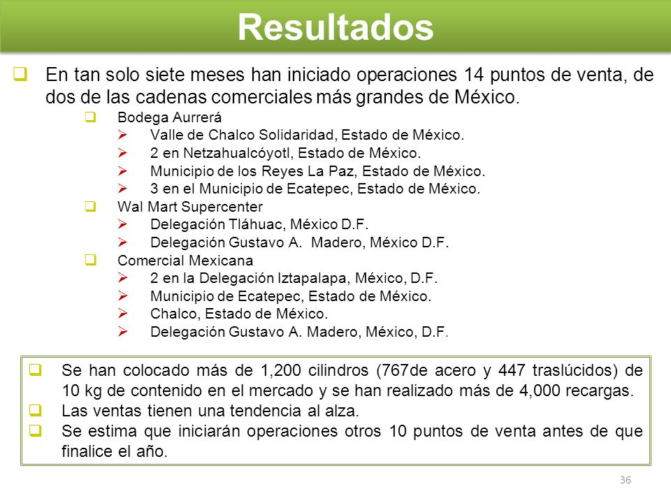 Resultados En tan solo siete meses han iniciado operaciones 14 puntos de venta, de dos de las cadenas comerciales más grandes de México.