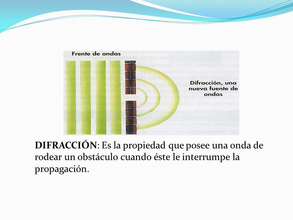 DIFRACCIÓN: Es la propiedad que posee una onda de rodear un obstáculo cuando éste le interrumpe la propagación.