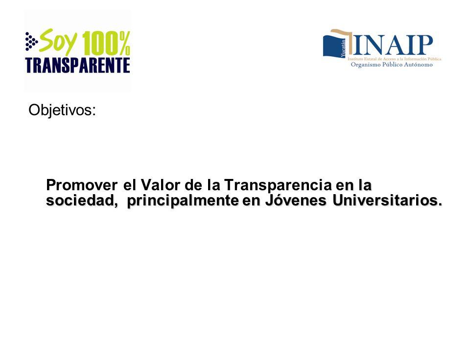 Objetivos: Promover el Valor de la Transparencia en la sociedad, principalmente en Jóvenes Universitarios.