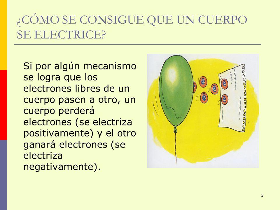 ¿CÓMO SE CONSIGUE QUE UN CUERPO SE ELECTRICE