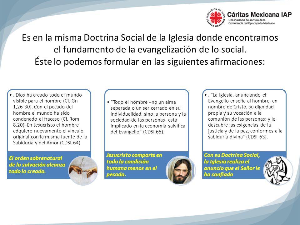 Es en la misma Doctrina Social de la Iglesia donde encontramos el fundamento de la evangelización de lo social. Éste lo podemos formular en las siguientes afirmaciones: