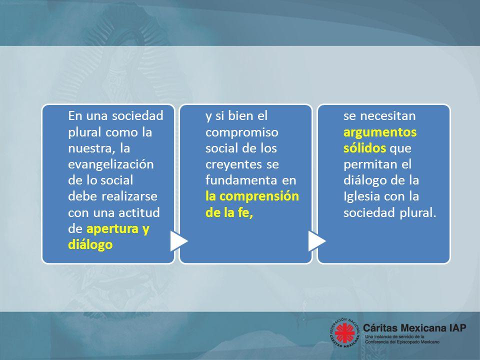 En una sociedad plural como la nuestra, la evangelización de lo social debe realizarse con una actitud de apertura y diálogo