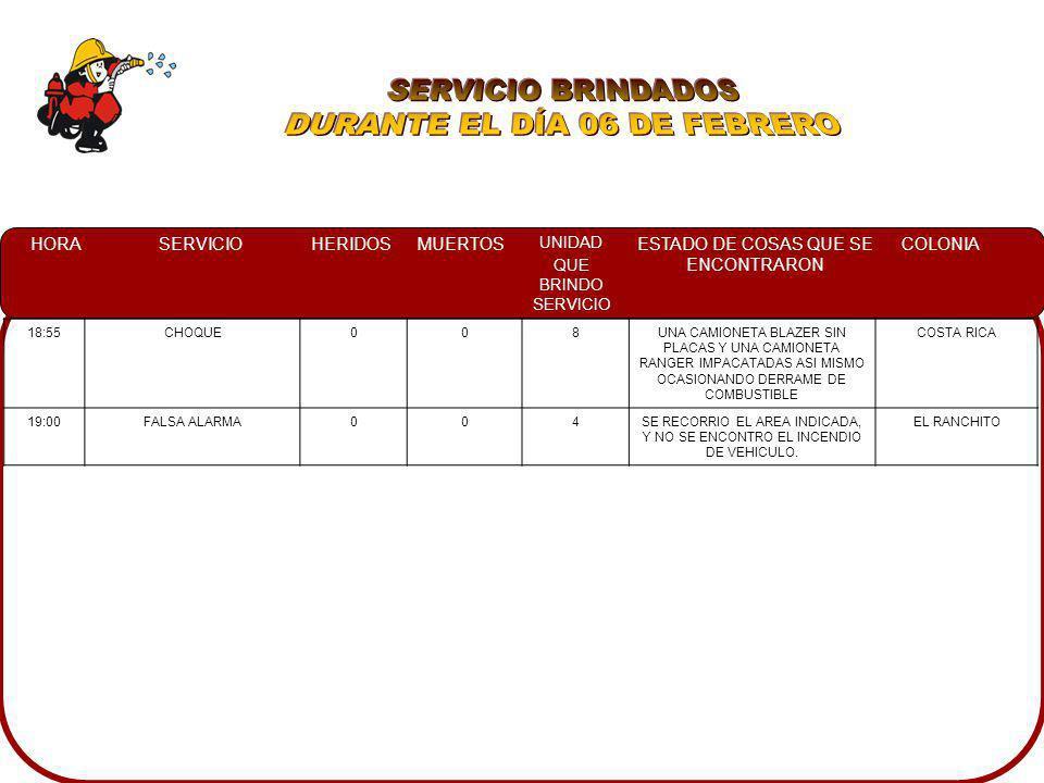 DURANTE EL DÍA 06 DE FEBRERO