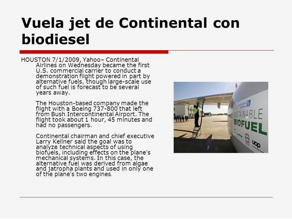 Vuela jet de Continental con biodiesel