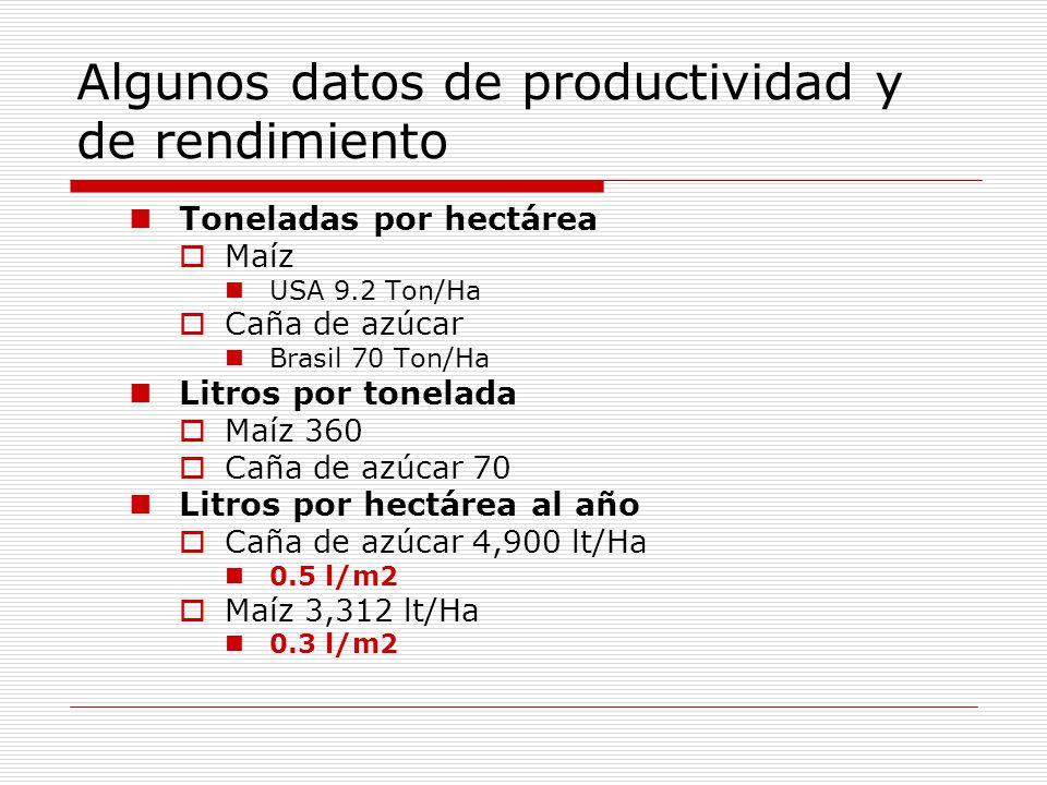 Algunos datos de productividad y de rendimiento