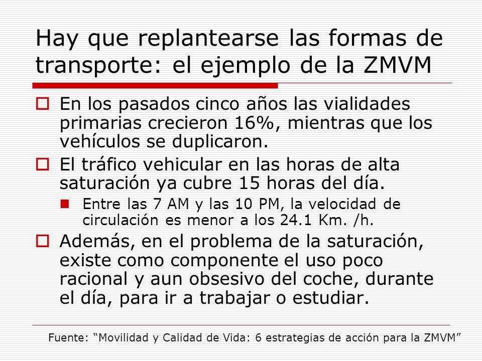 Hay que replantearse las formas de transporte: el ejemplo de la ZMVM