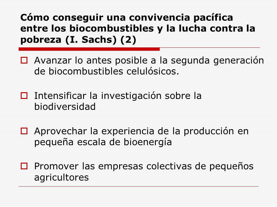 Cómo conseguir una convivencia pacífica entre los biocombustibles y la lucha contra la pobreza (I. Sachs) (2)