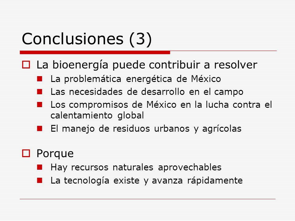 Conclusiones (3) La bioenergía puede contribuir a resolver Porque