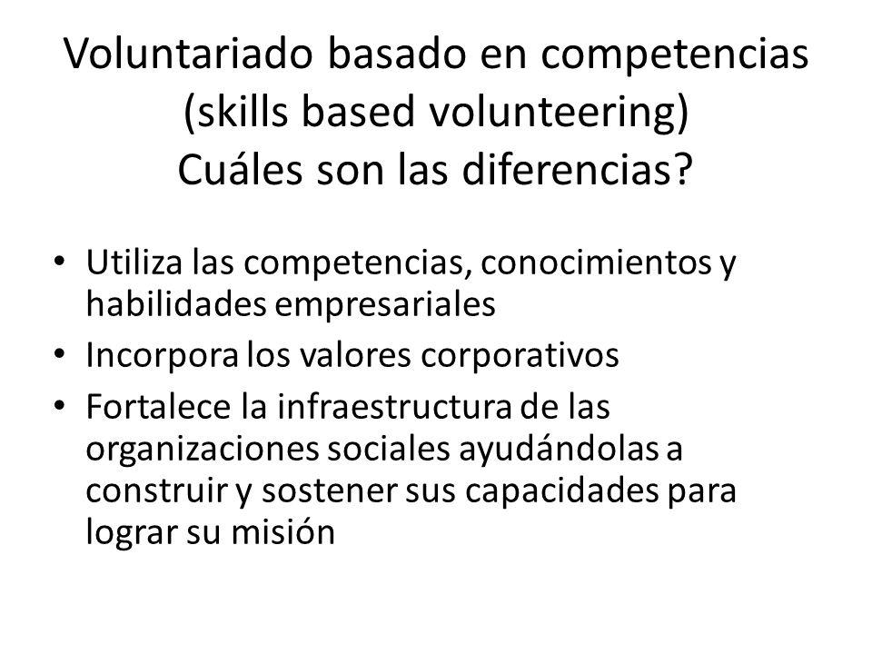 Voluntariado basado en competencias (skills based volunteering) Cuáles son las diferencias