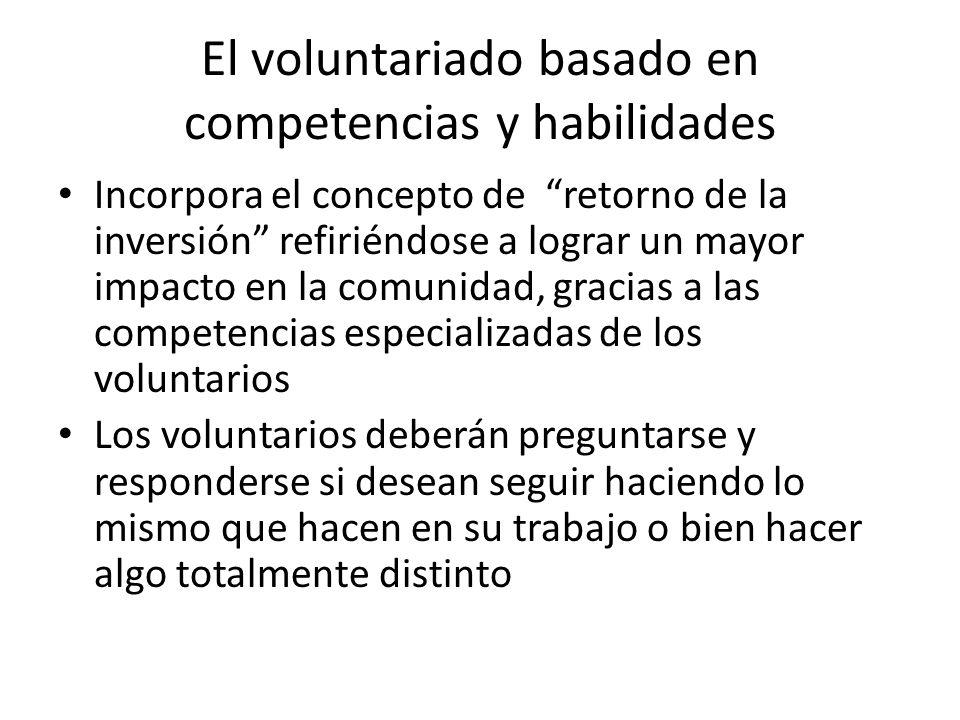 El voluntariado basado en competencias y habilidades