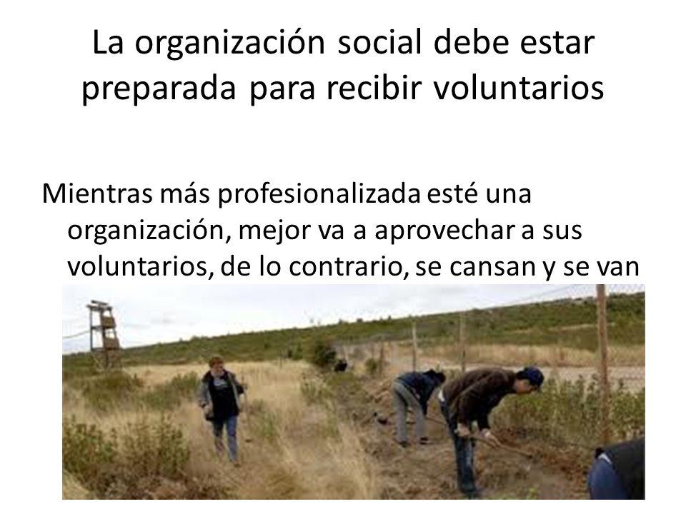 La organización social debe estar preparada para recibir voluntarios