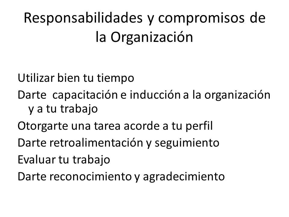 Responsabilidades y compromisos de la Organización