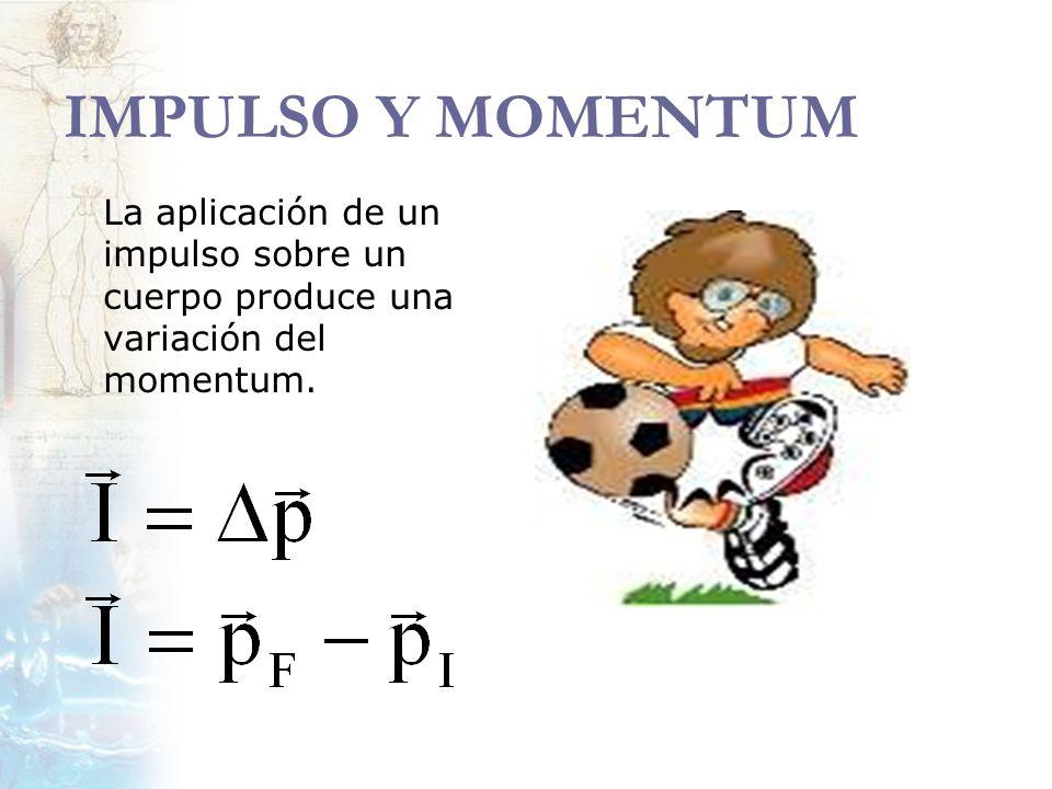 IMPULSO Y MOMENTUM La aplicación de un impulso sobre un cuerpo produce una variación del momentum.
