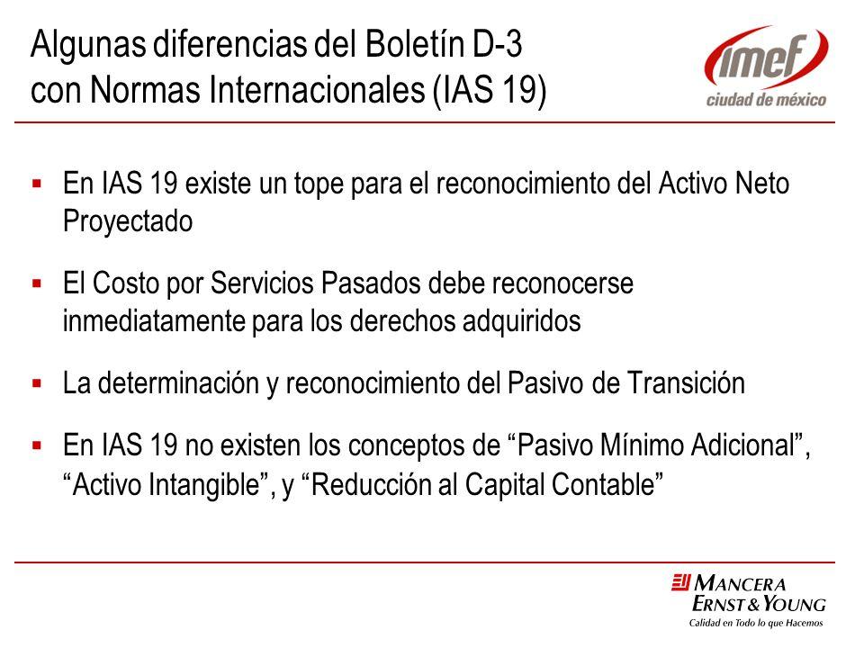 Algunas diferencias del Boletín D-3 con Normas Internacionales (IAS 19)