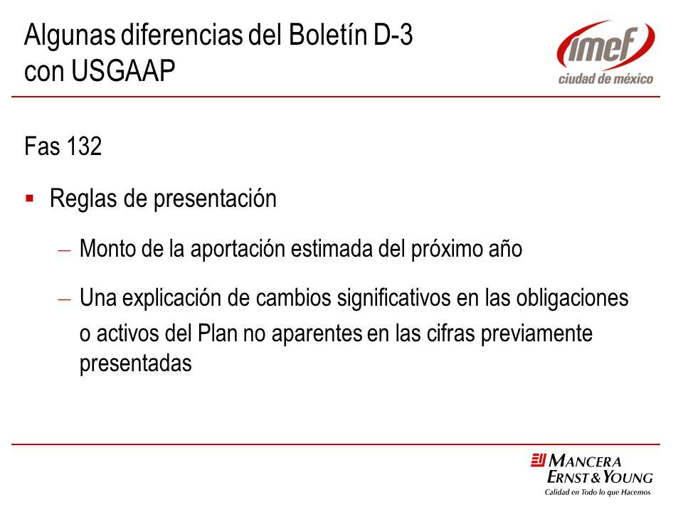 Algunas diferencias del Boletín D-3 con USGAAP