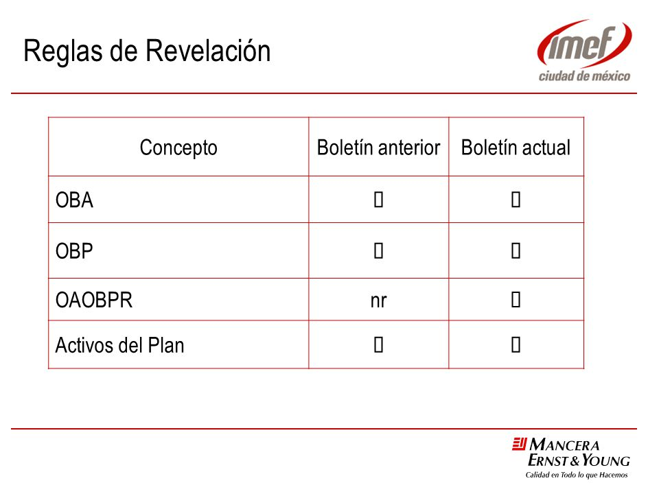 Reglas de Revelación Concepto Boletín anterior Boletín actual OBA ü
