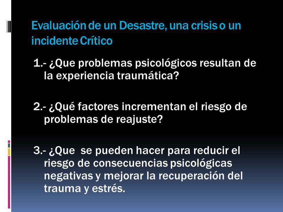 Evaluación de un Desastre, una crisis o un incidente Crítico