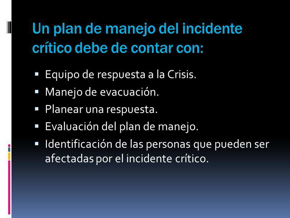 Un plan de manejo del incidente crítico debe de contar con: