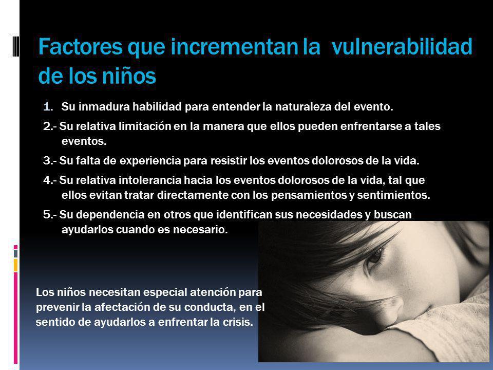 Factores que incrementan la vulnerabilidad de los niños