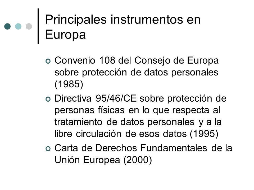 Principales instrumentos en Europa