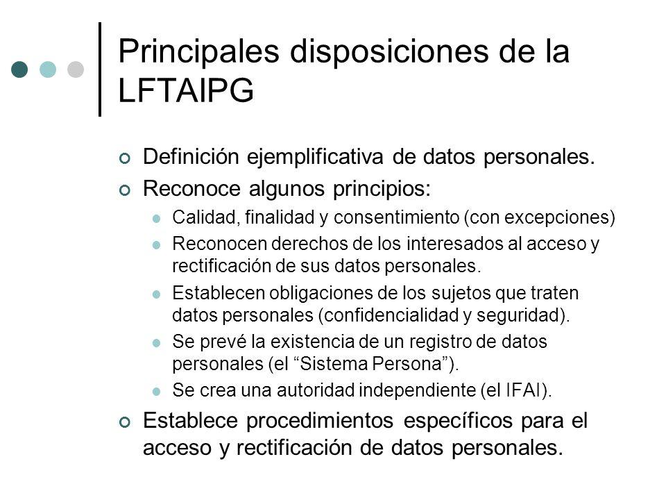 Principales disposiciones de la LFTAIPG