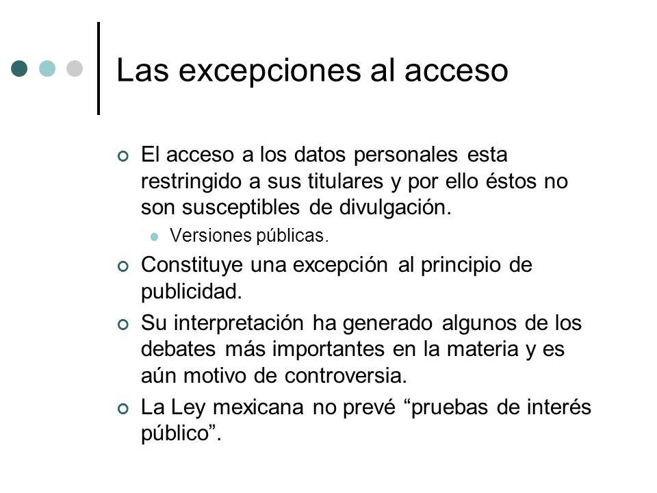 Las excepciones al acceso