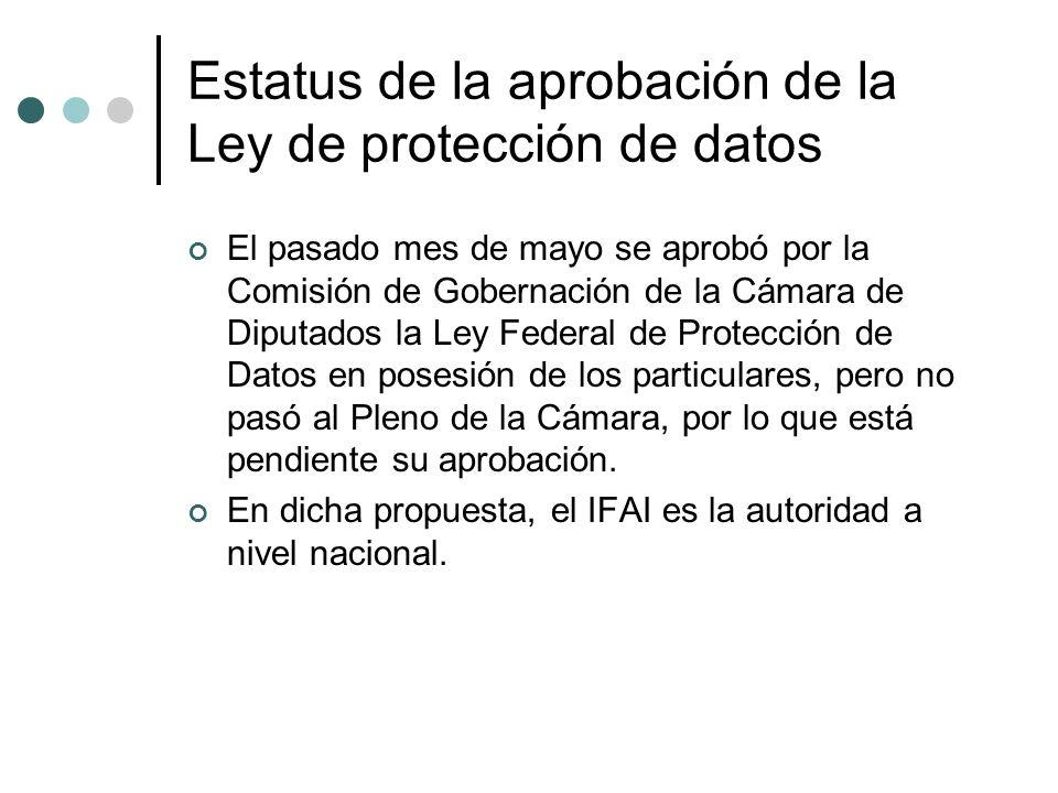 Estatus de la aprobación de la Ley de protección de datos