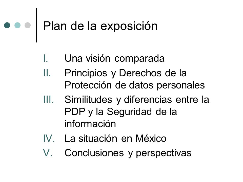 Plan de la exposición Una visión comparada