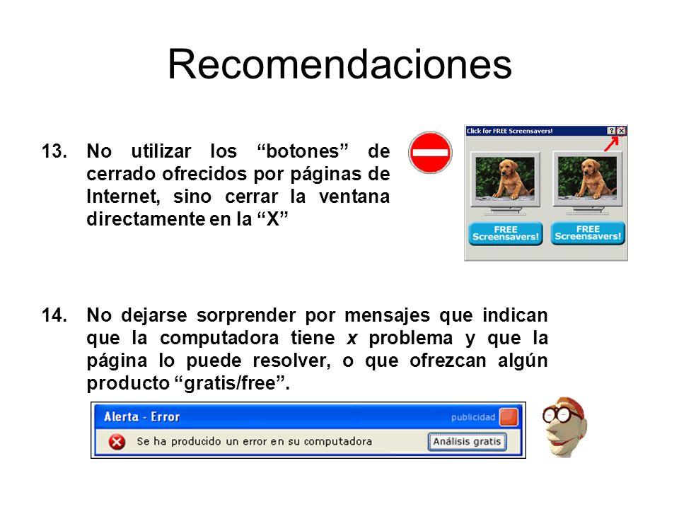 Recomendaciones No utilizar los botones de cerrado ofrecidos por páginas de Internet, sino cerrar la ventana directamente en la X