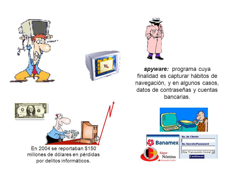spyware: programa cuya finalidad es capturar hábitos de navegación, y en algunos casos, datos de contraseñas y cuentas bancarias.