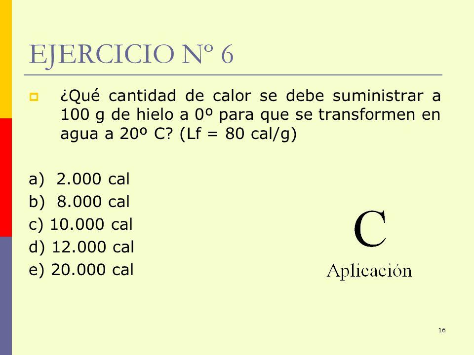 EJERCICIO Nº 6 ¿Qué cantidad de calor se debe suministrar a 100 g de hielo a 0º para que se transformen en agua a 20º C (Lf = 80 cal/g)